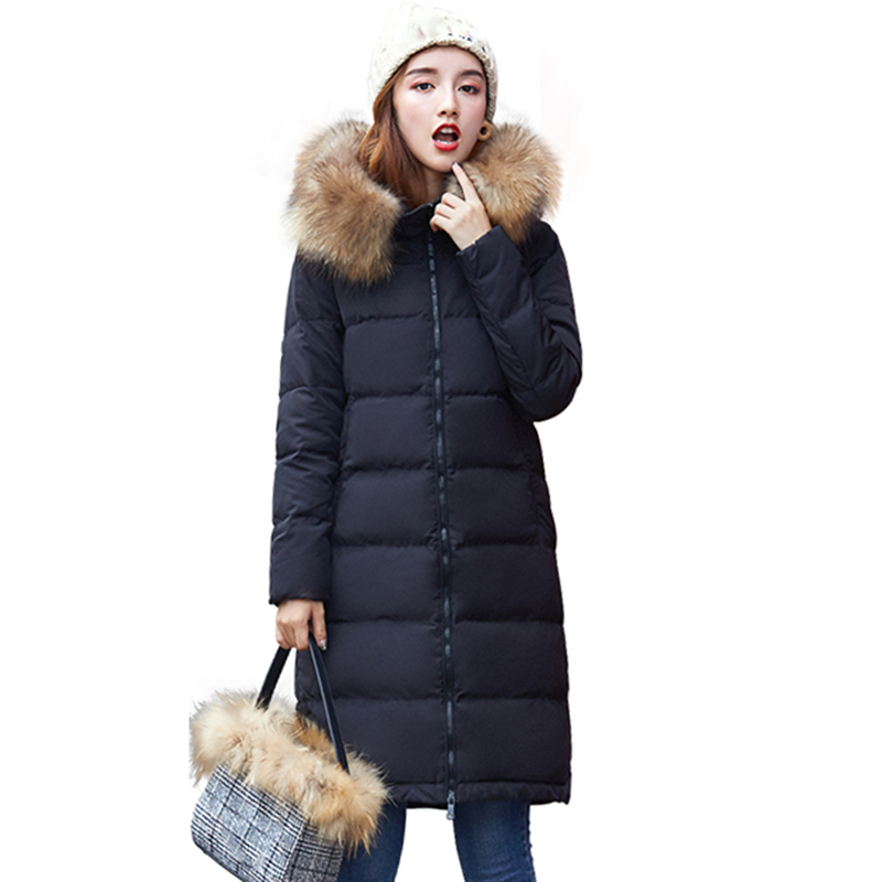 Women Winter Real Raccoon Fur Jacket 2018 Warm 95% White Duck   Down     Coat   Hooded Parkas Windproof Warm slim Female Snow Outerwear