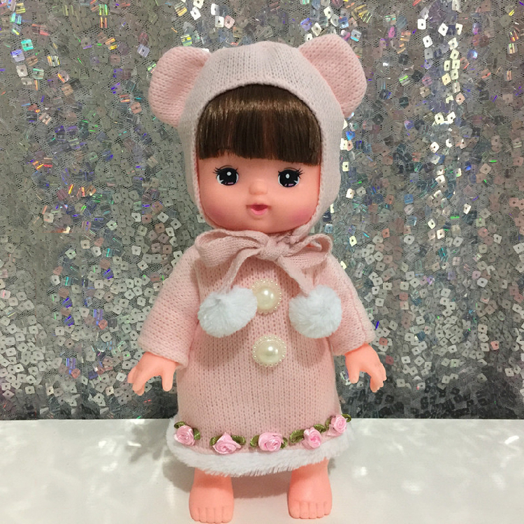 Baby Born Doll Clothes Fit 30cm Cute pink bear Long sweater + hat set and Jumpers Rompers Children Birthday Gifts pearl flowers