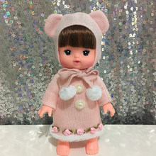 Baby Born Doll Clothes Fit 30cm Cute pink bear Long sweater + hat set and Jumpers Rompers Children Birthday Gifts pearl flowers(China)