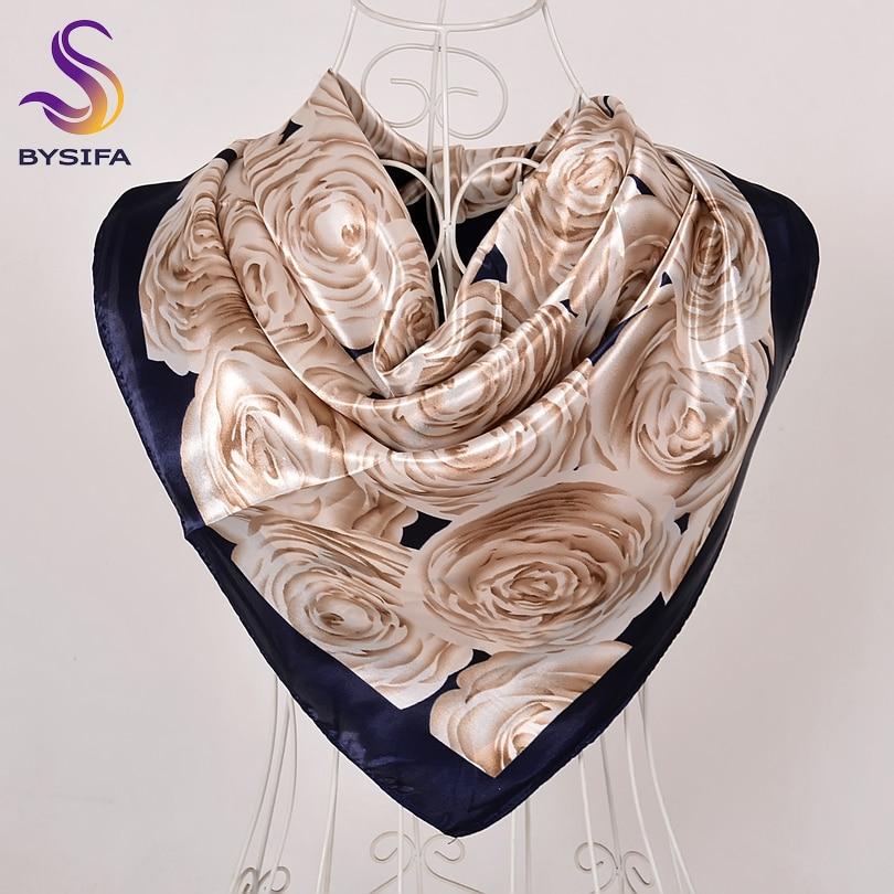 [BYSIFA] Beige Khaki Silk Scarf Shawl Women Fashion Chinese Roses Design Winter Large Square Satin Scarves Spring Autumn Scarf