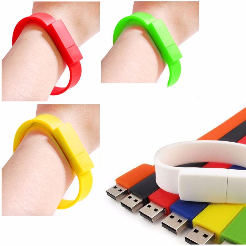Yellow Red Green Blue White Black Wrist Band Bracelet Usb 20 Wiring Flash Memory Stick Pen Drive U Disk 8gb 16gb Curved In Drives From Computer