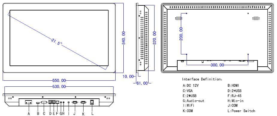21.5 'все-в-одном пк с сенсорным экраном с процессором Intel n3150 1.8 ггц встроенные промышленные панели пк 4usb/2rs32 разрешение 1920x1280
