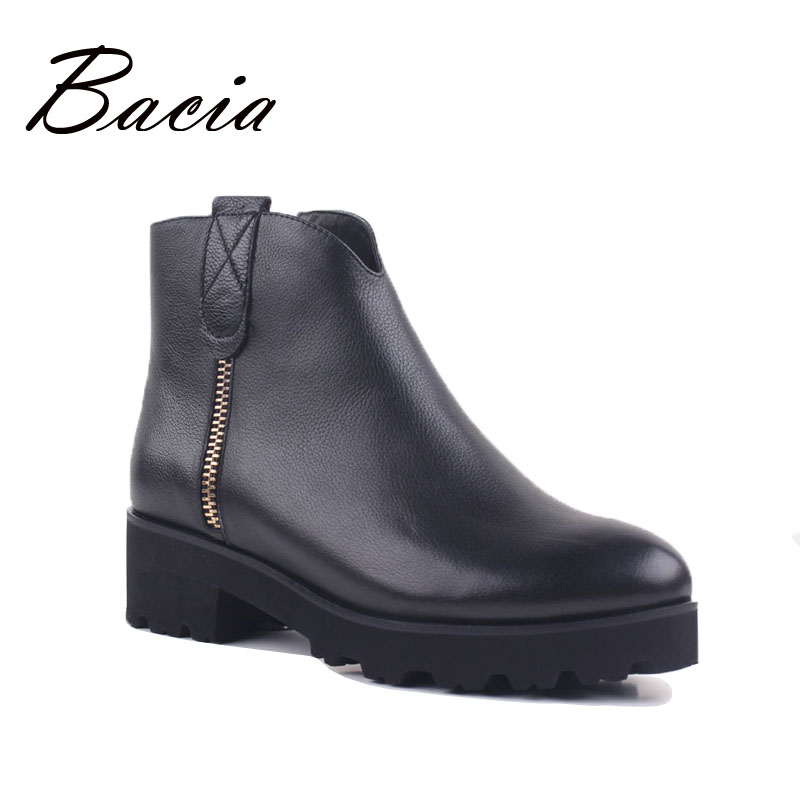 Bacia Genuine Leather Boots Short Plush Women Shoes Black Simple Style Ankle Boots With Zipper Handmade High Quality Shoes VD021 bacia genuine leather boots short plush women shoes black simple style ankle boots with zipper handmade high quality shoes vd021