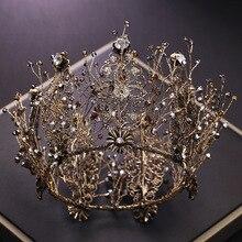 Невесты Ретро Черный Кристалл Корона королева Круглая Корона невесты Свадебные украшения Аксессуары для волос
