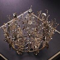 bride retro black crystal crown queen round crown brides wedding jewelry hair accessories