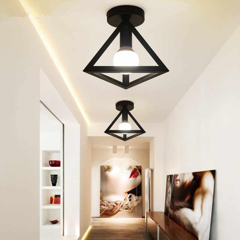 Artpad Simple Black White Kitchen Ceiling Lights Metal Bird Cage Diamond Vintage Ceiling Lamp Living Room Bathroom Aisle Decor