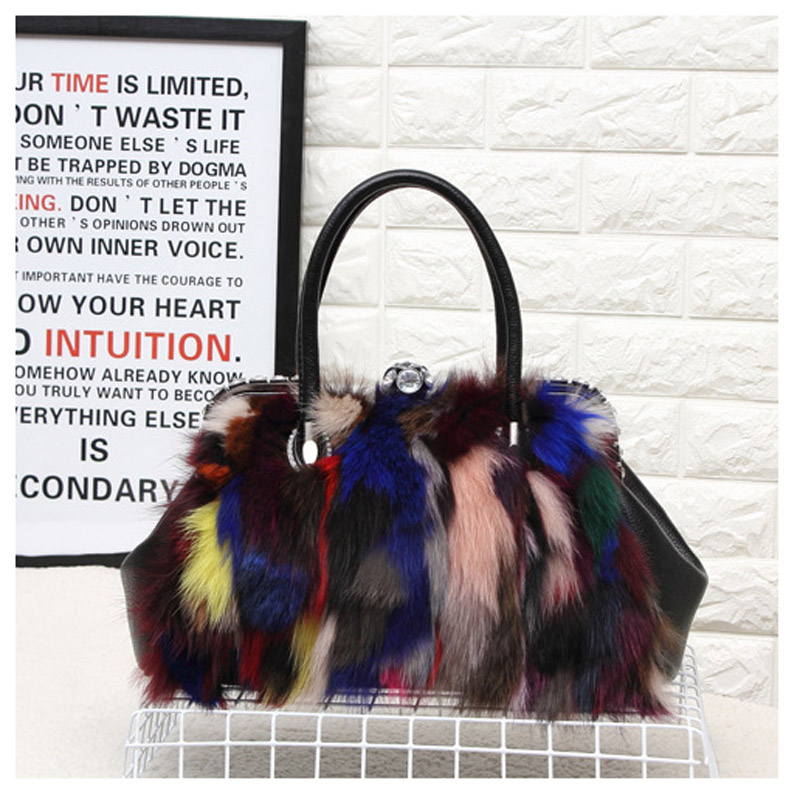 2018 Winte Newest Fox Fur Women Genuine Leather Handbag Famous Brand Multicolour Fur Bag Ladies Shoulder Bag Clutch Female Sac ombre side bang stylish lolita long wavy heat resistant synthetic capless cosplay wig for women