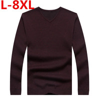 bigsize 8XL 7XL 6XL 5XL Winter Men Jumper 100% Pure Cashmere Knitted Sweater V neck Long Sleeve Warm Pullovers Male New Sweaters