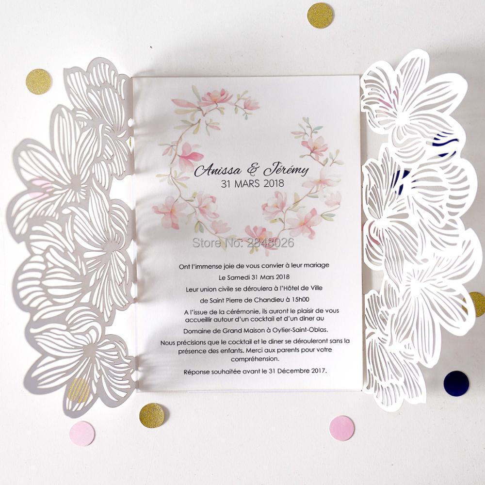 Customized tropical Laser Cut Wedding Invitation,palm tree style ...