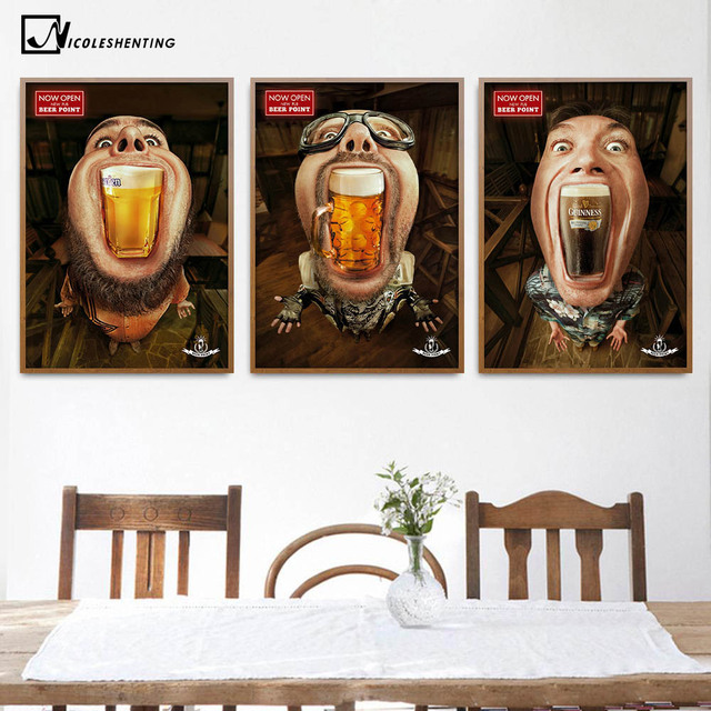 Drinking Beer Funny Poster Art Minimalist Canvas Painting Wall Picture Print Dining Room Bar Club