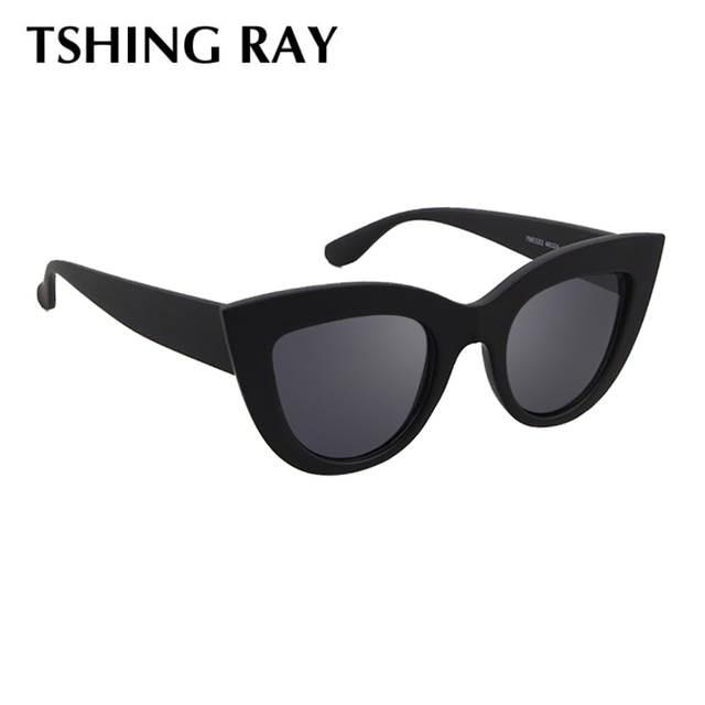 TSHING RAY Rétro Épais Cadre Cat Eye lunettes de Soleil Femmes Dames De Mode  Marque Designer af382f2bf87a