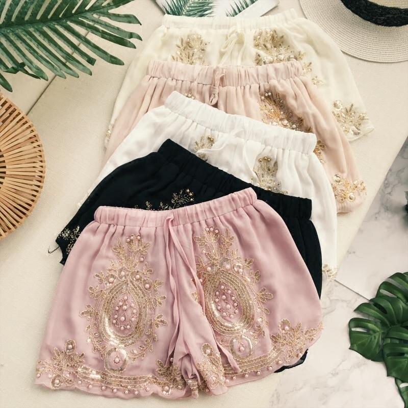 Women shorts 2018 Sequined beading elastic shorts shorts female short pants