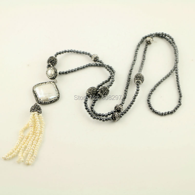 4 Strands Pave Rhinestone Beads Natural Pearl Necklace and White Tassel Jewelry with Black Hematite Beaded