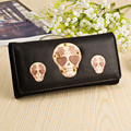 2016 European Creative New Rivet Skull Women Wallets Long Section PU Leather Coin Purses Card Holder