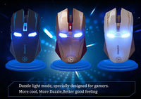 Iron Man Mouse Wireless Mouse Gaming Mouse Gamer Mute Button Silent Click 800 1200 1600 2400DPI