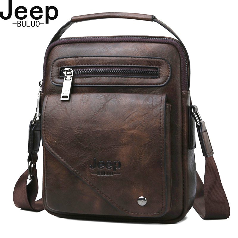 JEEP BULUO Split Leather Crossbody Tote Men Bag Famous Designer Men Shoulder Messenger Bags Men Fashion Business High Quality