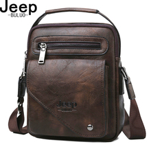 JEEP BULUO Split Leather Crossbody Tote Men Bag Famous Designer Men Shoulder Messenger Bags Men Fashion Business High Quality jeep buluo brand high quality pu leather cross body messenger bag for man ipad famous men shoulder bag casual business tote bags