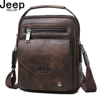 JEEP BULUO Split Leder Crossbody-tasche Männer Tasche Berühmte Designer Männer Schulter Messenger Bags Männer Mode Business Hohe Qualität