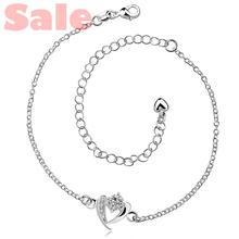 AAAA BMMA Plated Silver Anklets Fashion Jewelry CA031 Heart with Clear Cubic Zirconia Foot Bracelets
