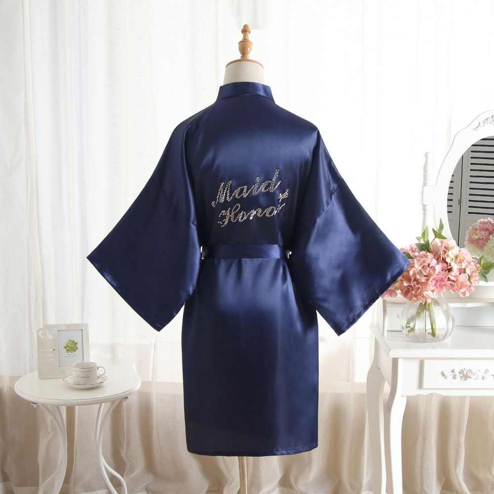 Honor Rhineston 手紙ローブ女性花嫁介添人の結婚式のメイド着物ローブパジャマナイトガウンドレスの女性のバスローブパジャマ
