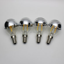 4pcs G45 2w LED Filament Bulbs Mirror Half Chrome Globe E14 E12 E26 E27 warm light 100v 120v 220v for living room Vintage(China)