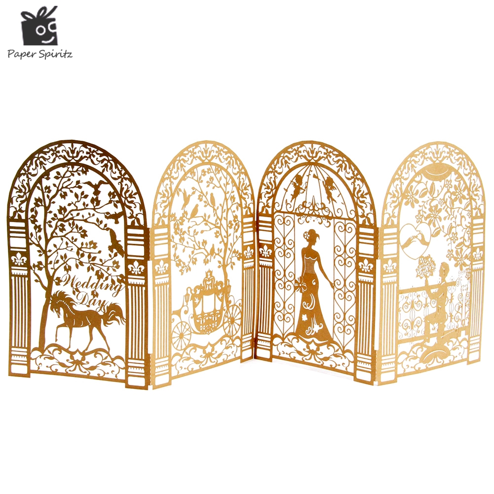 Wedding invitation cards laser cut 3d anniversary for Decoration 3d free