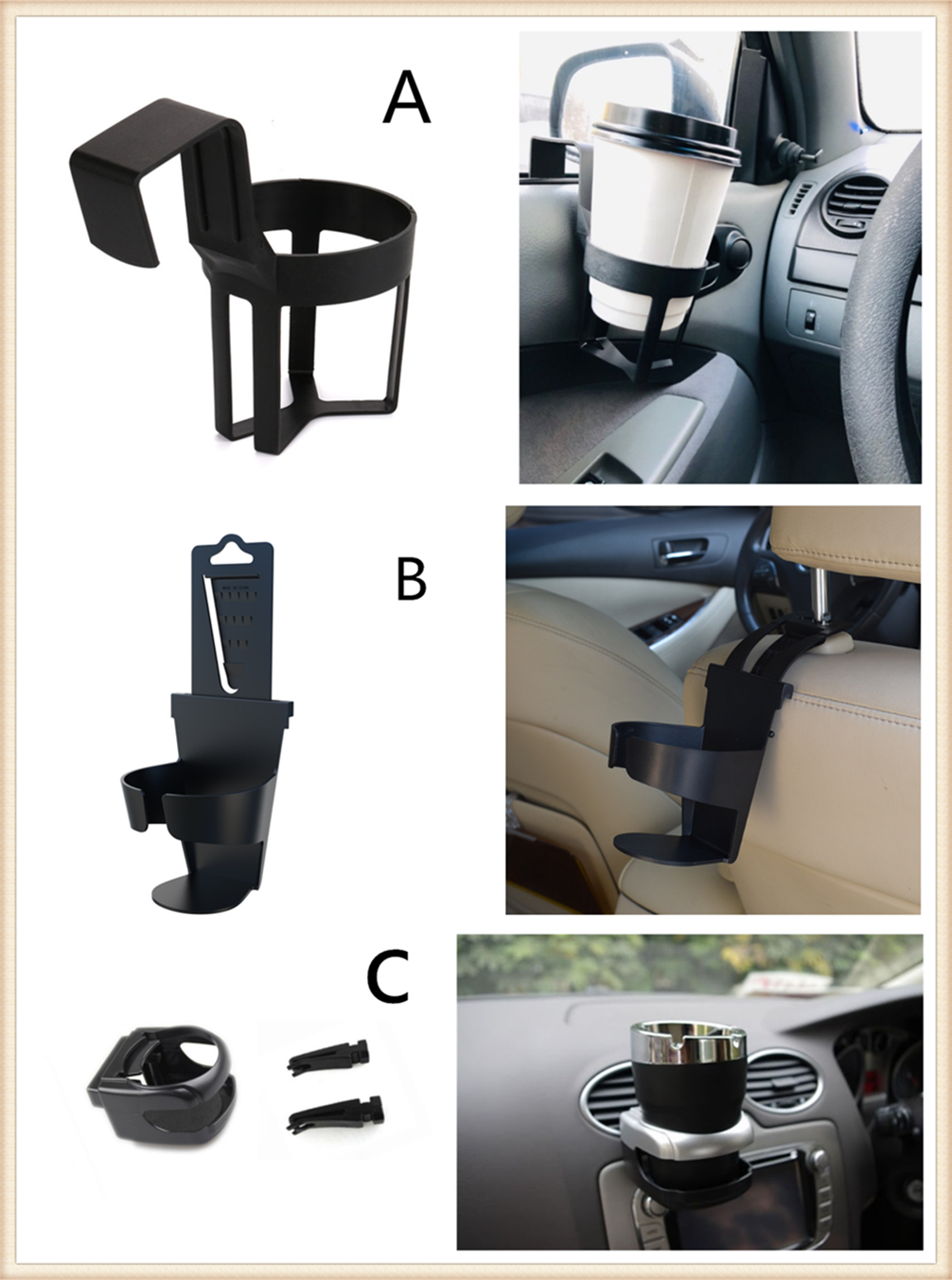 Large Caliber Designed Cup Holder,Rotation Cup Drink Holder for Car Air Conditioner Outlet