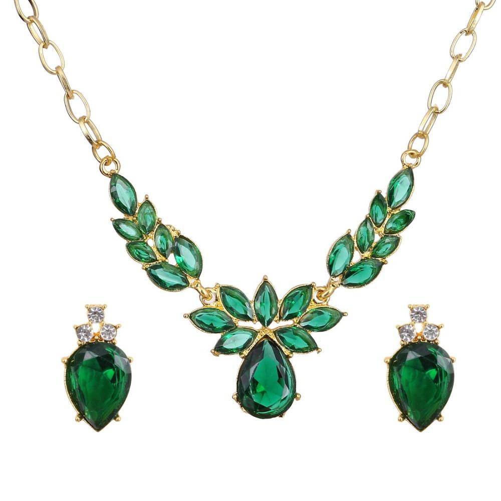 Green Costume Jewellery: Green Zircon Jewelry Girl's Perfect Costume Jewelry Set