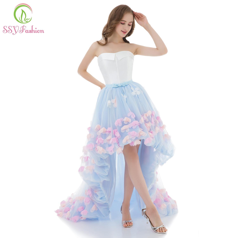 SSYFashion Sweet Light Blue Lace Flower Evening Dress y Strapless
