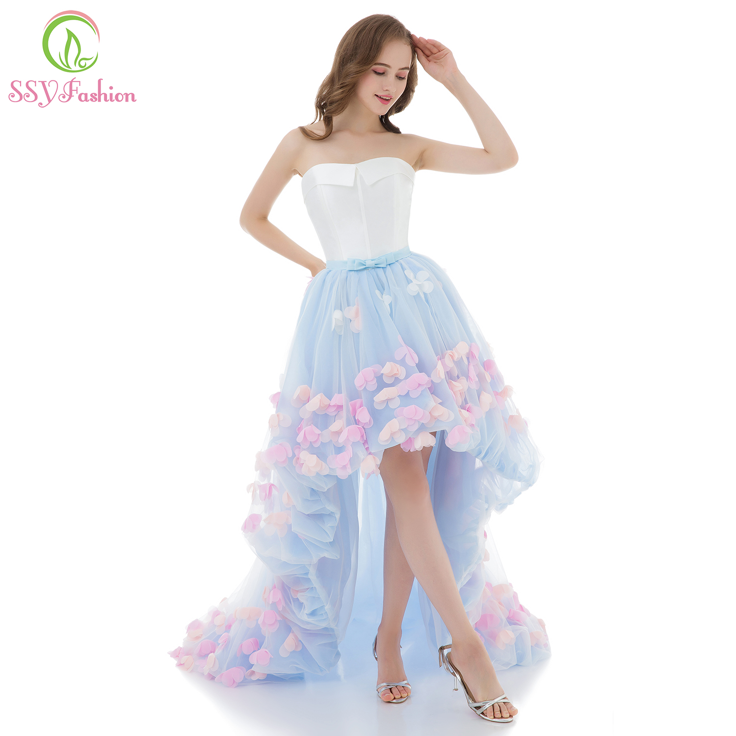 SSYFashion Sweet Light Blue Lace Flower Evening Dress Sexy Strapless Appliques Short Front Long Back Banquet Party Fromal Gowns