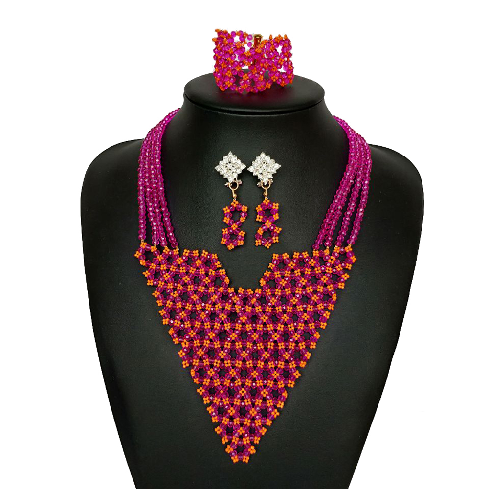 Fine Crystal Beaded Party Jewelry Set for Women African Beads Jewelry Set Red Dubai Wedding Necklace Nigerian Bridal Jewelry Set все цены