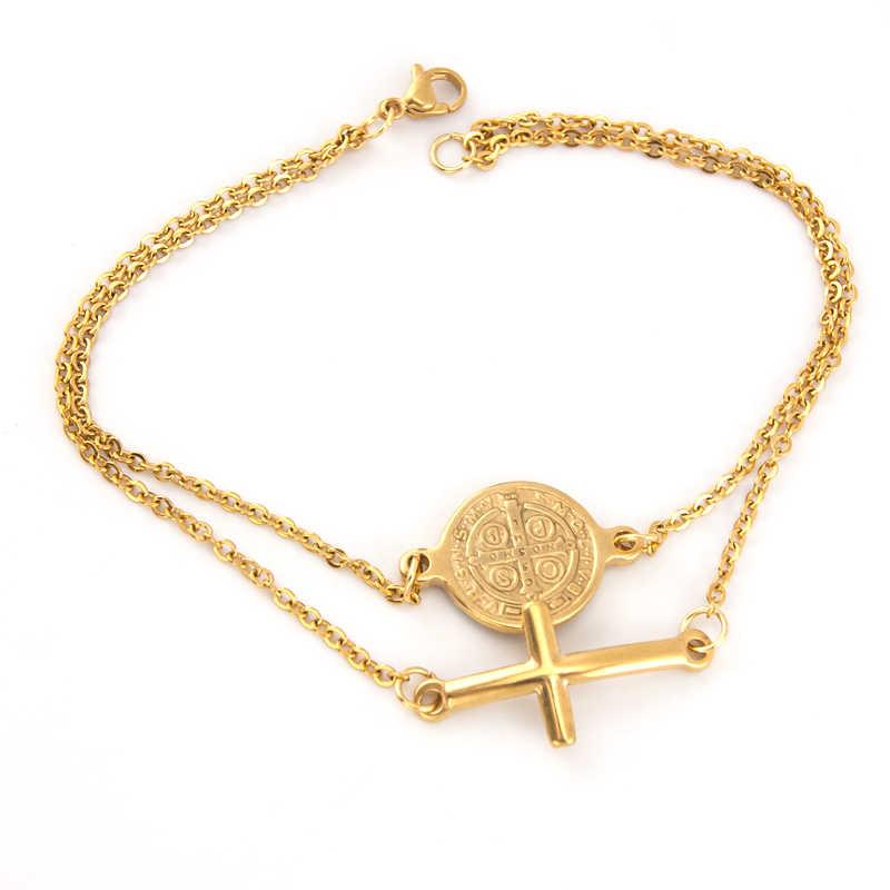 San Benito podwójne warstwy krzyż świętego benedykta urok złoty bransoletka kobiety biżuteria Rolo łańcuch ze stali nierdzewnej bransoletki damskie