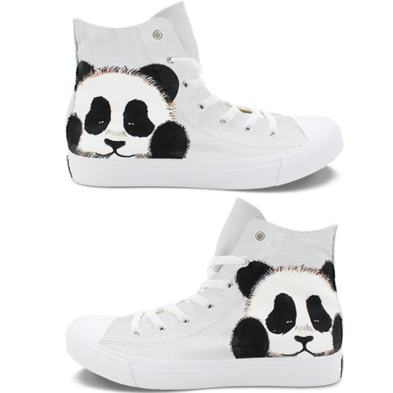 Hand-painted panda canvas shoes, womens shoes, large size grey-white student sneakers, mens shoes size35-49Hand-painted panda canvas shoes, womens shoes, large size grey-white student sneakers, mens shoes size35-49