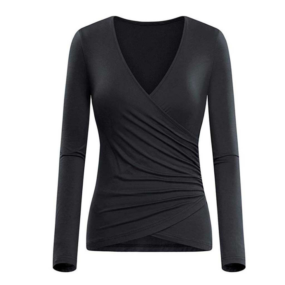 Women's Shirt <font><b>Deep</b></font> <font><b>V</b></font> Neck Long Sleeve Unique Cross Wrap <font><b>Sexy</b></font> Slim Fit Tops Autumn Winter Slim Womens Tops And <font><b>Blouses</b></font> #SW image