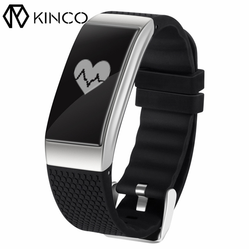 KINCO Bluetooth IP68 ECG Heart Rate Blood Pressure Monitor Sport Wristband Pedometer Exercise Smart Bracelet for IOS/Android jimate g16 pedometer smart wristband bluetooth smartband heart rate monitor blood pressure bracelet color screen for ios android