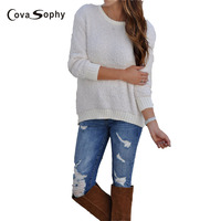 Cova Sophy 2017 Autumn Winter New Fashion Women Knitted Sweater Long Sleeve Loose Casual Solid Tops