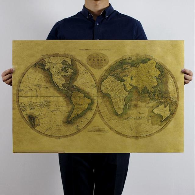 Retro Mapas Mundo Cartel De Papel Kraft Pegatinas De Decoración De