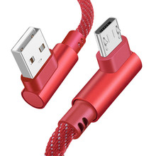цена на Micro USB Cable Fast Charger USB Cord 90 degree Right Angle Nylon Braided Data Cable for iPhone X 8 7 Samsung/Sony/Xiaomi Type C