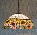 Подвесной светильник Tiffany Sun Flower из витражного стекла в европейском Идиллическом стиле для бара  кофейни диаметром 40 см  высота 100 см