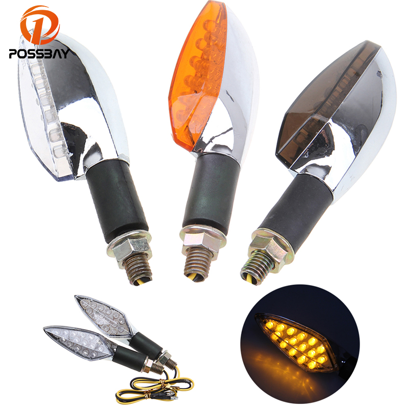 POSSBAY Amber Light Motorcycle LED Turn Signals Scooter Flasher Blinker Indicator Lamps White/Yellow/Gray Lens For Suzuki Harley