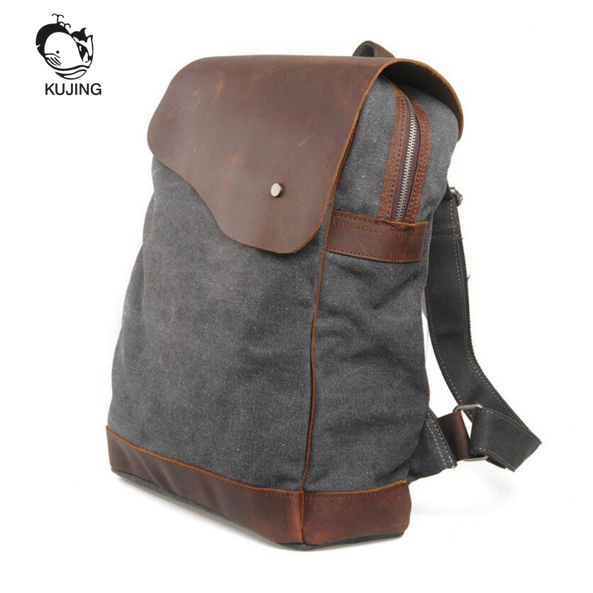 KUJING Leather Backpack High-grade Retro Canvas Large Capacity Student Backpack Hot Cheap Travel Casual Men And Women Backpack