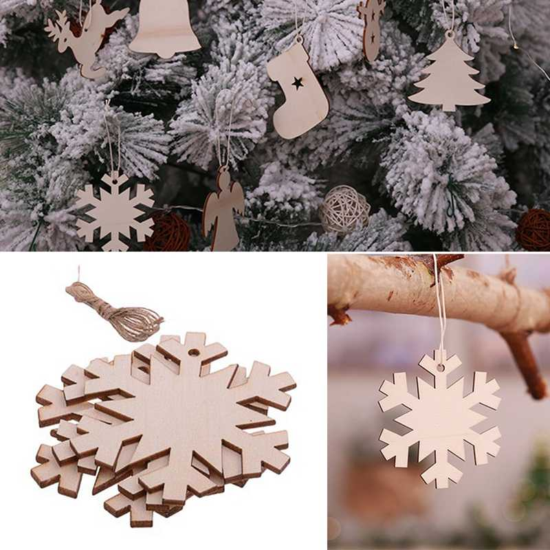10Pcs/Set Tree Santa Claus Boots Bells Christmas Tree Hanging Wooden Ornaments Home Xmas Party Christmas Decorations Snowflake