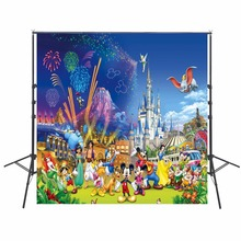 10x10ft Cartoon Photography Background Cloth Vinyl Backdrops For Kids Birthday Party Theme Custom Name