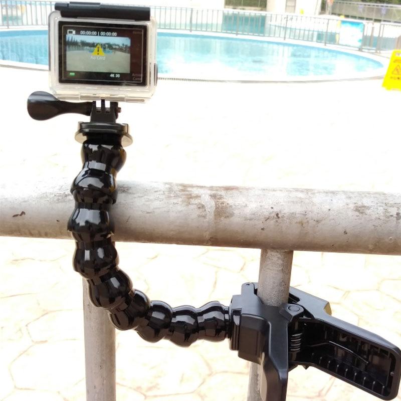 Acción Cámara accesorios Jaws Clamp Mount cuello ajustable para GoPro cámara para Go pro deporte dv EKEN H9 H9R h8 H5S H6S