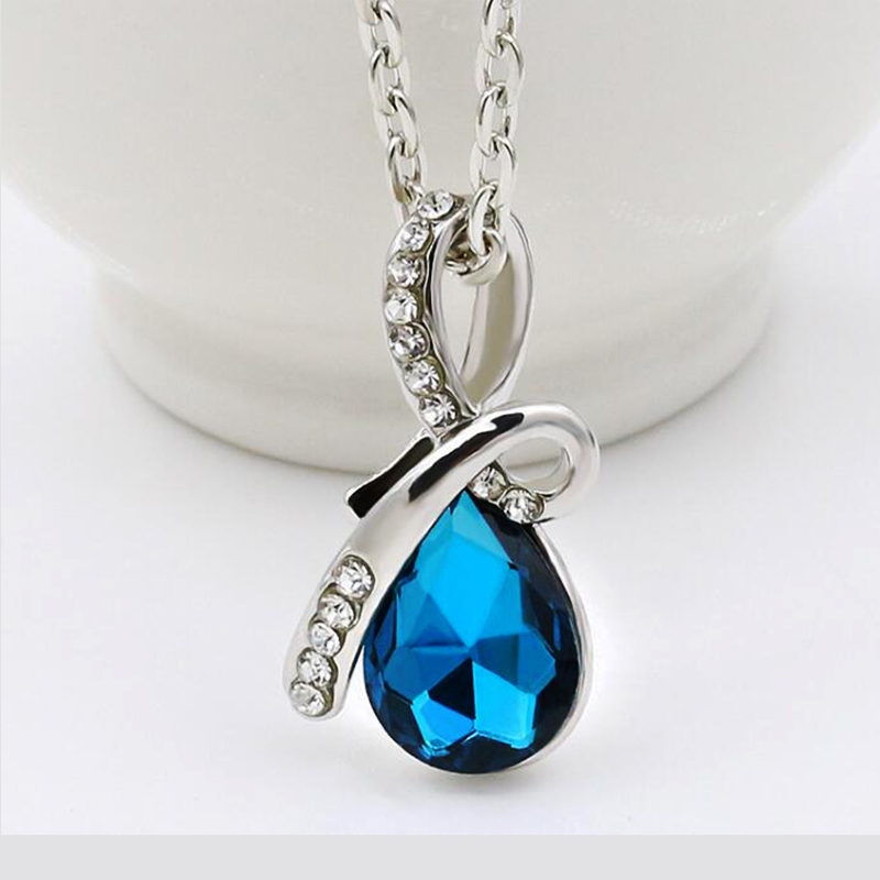 pendant tear heart drop blue necklace fashion crystal