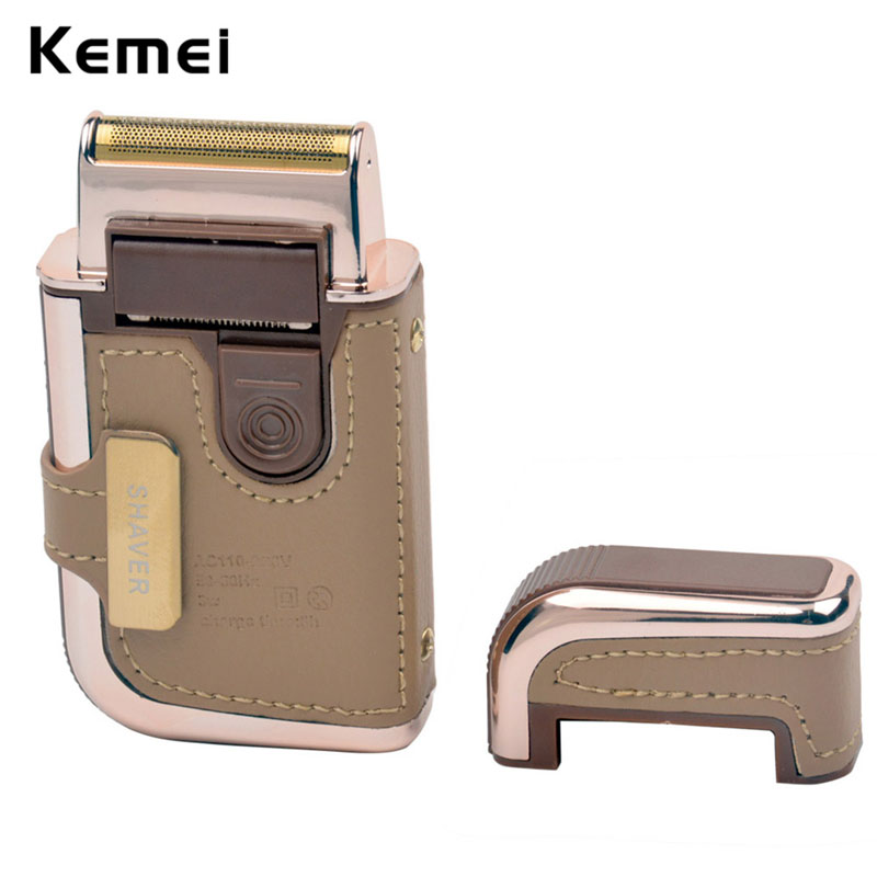 2 in 1 Kemei Men's Electric Shaver Razor reciprocating Vintage leather  Rechargeable Mustache Beard Trimmer Shaving Machine G45
