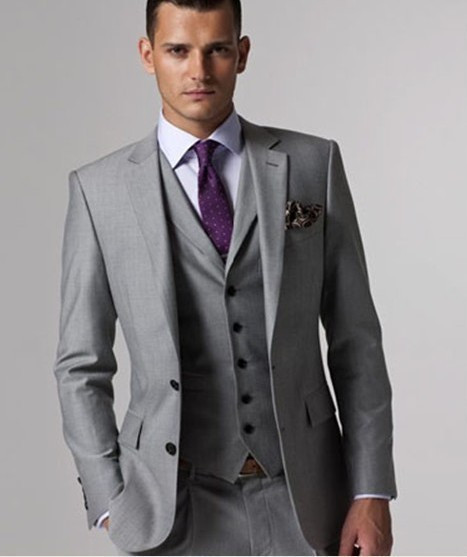 Wholesale Custom Made 3 Piece Men Suits Fashion Light Grey Business Suit Men Wedding Suits Groom Tuxedos Best Man Suit Groomsman