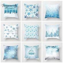 Fuwatacchi Christmas Style Cushion Cover Snowman Santa Claus Deer Pillow Home Sofa Blue Decorative Throw Pillowcase