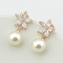 Italina de Moda Estrella Cristales Pendientes perla simulada Oro Pendiente Del Perno Prisionero para Las Mujeres Del Banquete de Boda Joyería Clásica