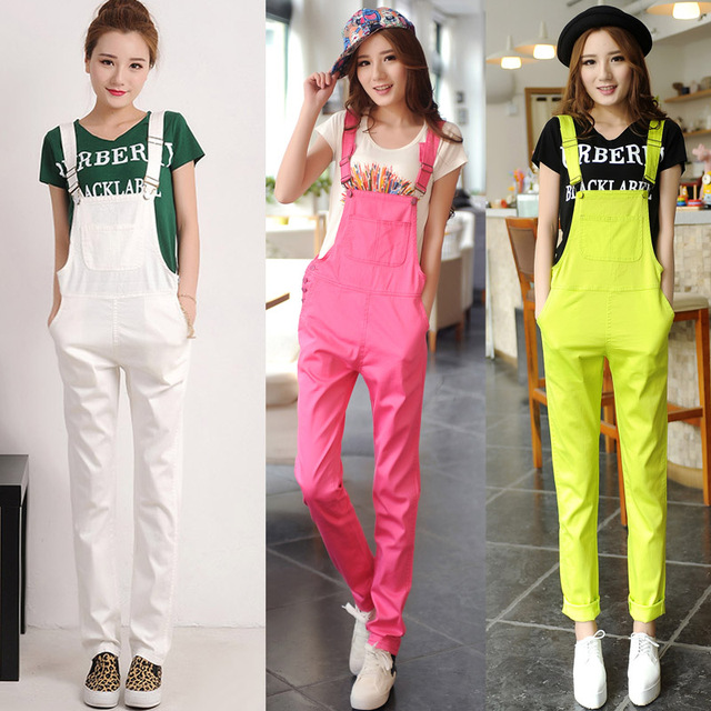 fb95b6e0e2 New 2018 Women White Fluorescent Yellow Jumpsuits Playsuits Bodysuits For  Women Student Black Loose Womens Rompers